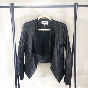 BB Dakota Faux Leather Draped Open Front Jacket